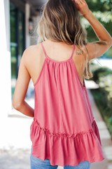Ruffle Tank in Coral Back View