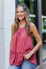 Ruffle Tank in Coral Side View