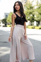 Culotte Pants in Taupe Side View on model