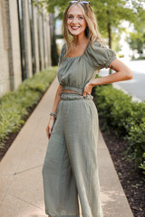 Culotte Pants in Olive Side View