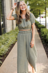 Culotte Pants in Olive Front View