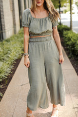 Culotte Pants in Olive Front View on model