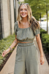 Crop Top in Olive Front View