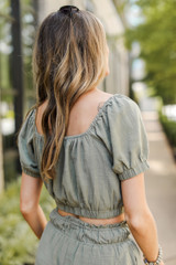 Crop Top in Olive Back View