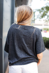 Oversized Knit Tee in Black Back View