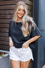 Oversized Knit Tee in Black Front View