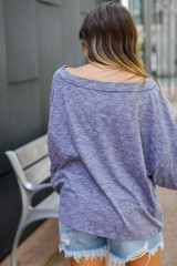 Oversized Knit Tee in Denim Back View