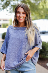 Oversized Knit Tee in Denim Front View