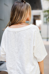 Oversized Knit Tee in White Back View