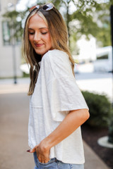 Oversized Knit Tee in White Side View