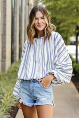 Striped Blouse Front View