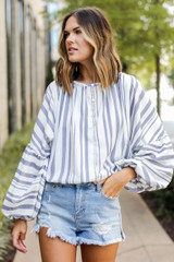 Striped Blouse Front View on model