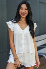White - Linen Shorts from Dress Up