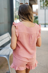Linen Shorts in Mauve Back View