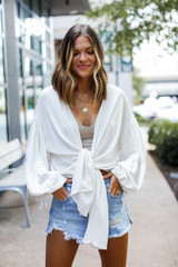 Natural - Tie-Front Blouse