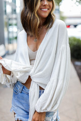 Natural - Tie-Front Blouse from Dress Up