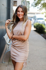 Taupe - Model wearing a Ruched Dress