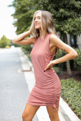 Rust - Ruched Dress Front View