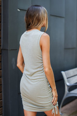 Ruched Dress in Sage Back View