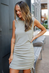 Ruched Dress in Sage Front View