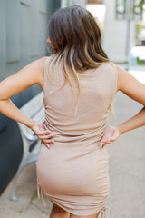 Ruched Dress in Taupe Back View