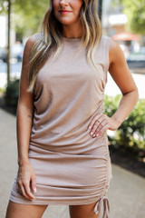 Ruched Dress in Taupe Front View
