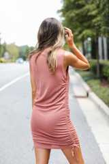 Ruched Dress in Rust Back View