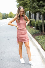 Ruched Dress in Rust Front View