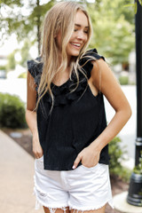 Ruffled Tank in Black Front View