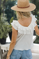 Ruffled Tank in White Back View