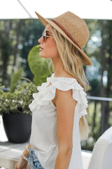 Ruffled Tank in White Side View