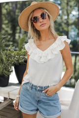 Ruffled Tank in White Front View