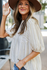 Taupe - Striped Blouse Side View