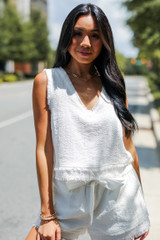 Linen Shorts in White Front View