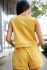 Linen Shorts in Mustard Back View