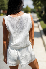 Linen Tank in White Back View
