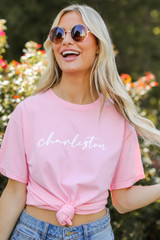 Charleston Script Tee in Pink Front View