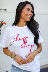 Model wearing the White Chop Chop Graphic Tee