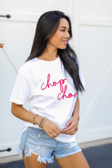 White Chop Chop Graphic Tee Side View