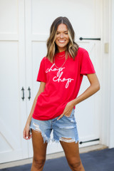 Model wearing the Red Chop Chop Graphic Tee