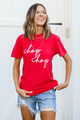 Dress Up model wearing the Red Chop Chop Graphic Tee