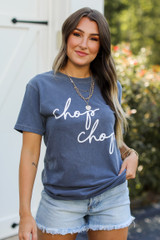 Navy Chop Chop Graphic Tee Front View