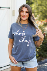 Model wearing the Navy Chop Chop Graphic Tee