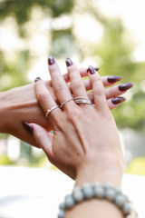 Silver - Model wearing a Pearl Ring Set