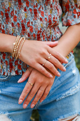 Model wearing a Gold Star Ring Set