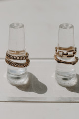 Close Up of a Gold Chain Ring Set
