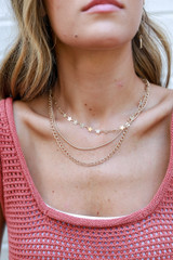 Model wearing a Star Layered Necklace in Gold