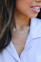 Model wearing a Star Layered Necklace in Silver
