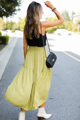 Midi Skirt in Lime Back View