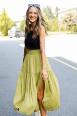 Midi Skirt in Lime Side View